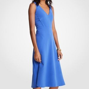 Ann Taylor V-neck midi flare dress NWT
